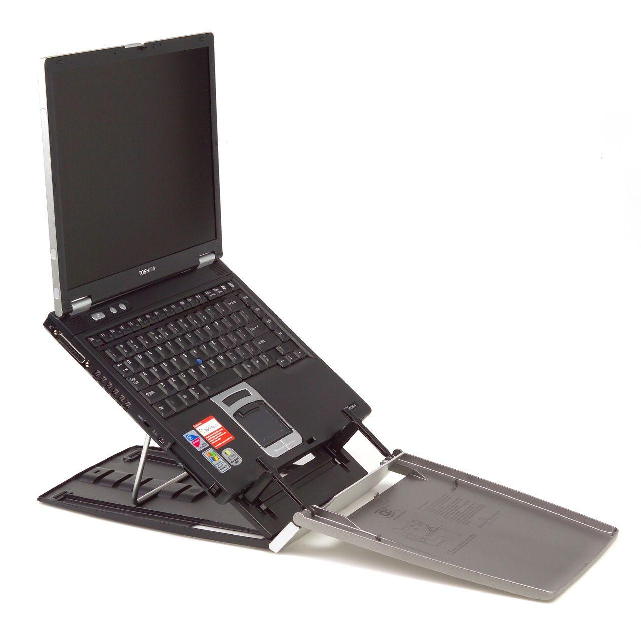 ergo q 330 laptophouder ERKAQ3365 Zijkant open met laptop