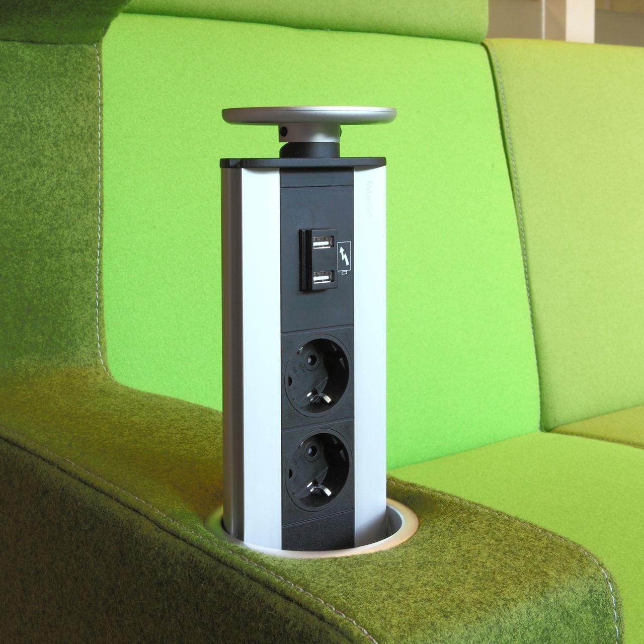 modulair akoestisch meubilair met stekkerdoos